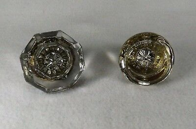 Two Authentic Crystal Antique Door Knobs Solid Brass Collars Eight Point & Round