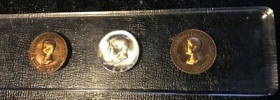 Used Unc 1964 D John F. Kennedy Silver Half Dollar Paper Weight Plus 2 Tokens