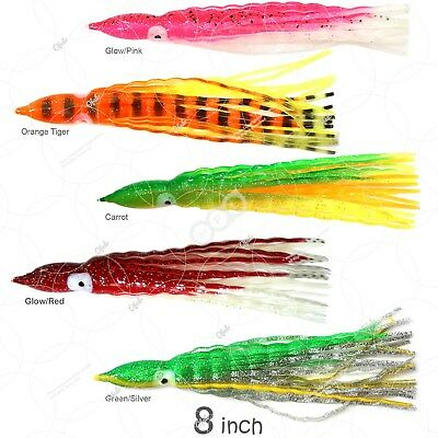"""8/"""" Squid Skirt Octopus Trolling Hoochies wave Soft Lure Fish WOW Silver Green"""