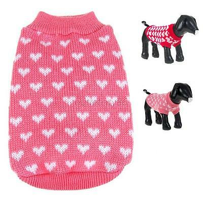 Hot Small Dog Cat Pet Jacket Jumper Puppy Little Heart Knit Sweater Coat Apparel