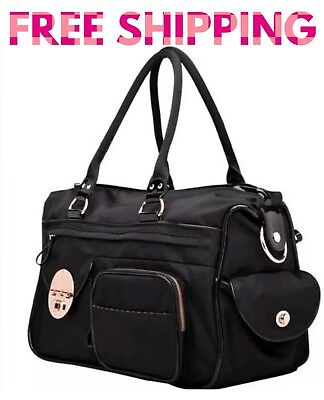 AUTH Mimco Lucid Baby Nappy Bag Black Rose Gold Nylon LARGE Duffle Weekender