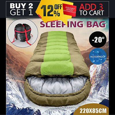 -20° Degree Thermal Single Outdoor Camping Sleeping Bag Envelope Tent Green