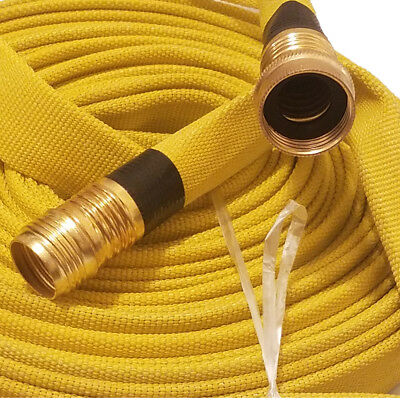 Forestry Grade Lay Flat Fire Hose, 3/4In.x 50 Ft., Yellow, 250 Psi