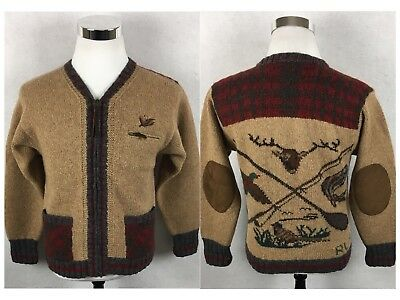 VTG Ralph Lauren Country Hunting Wool Hand Knit Cardigan Sweater Small