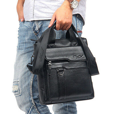 Men's Business Leather Handbag Briefcase Shoulder Crossbody Messenger Tote Bag