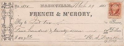 French & M'Crory Nashville Tennessee 1864 Check - #1695