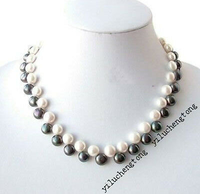 """Real White & Black Freshwater Cultured Pearl Necklace 18"""" Button 7-8mm"""