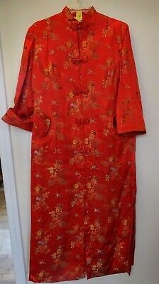 Vintage (1980's) Oriental Women's Red Silk Robe-Lined-M *FREE SHIPPING*