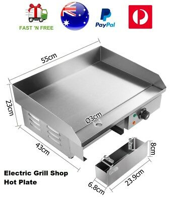 Electric 3000W Grill Hot Plate Griddle Stainless Steel BBQ Countertop Cooktop