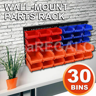 30 PC Bin Wall Mounted Storage Solution Rack Nuts & Bolts Organizer Small Parts