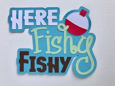 Fully assembled 'Here Fishy Fishy' scrapbook title