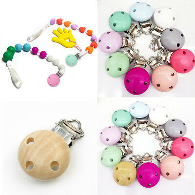 Baby Dummy Nipple Soother  Pacifier  Suspender Clips Wooden Holder  Colorful