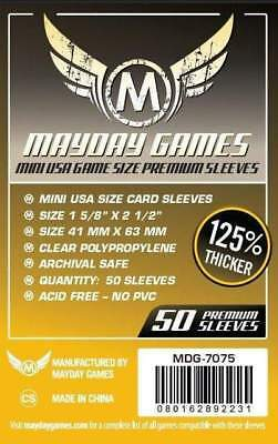 MAYDAY GAMES Mini American USA Board Game Card Sleeves Clear Size 41 x 63mm 50ct