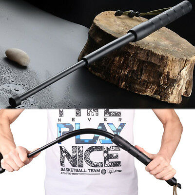 Black Self-Protect 3 Sections Telescopic Stick Portable Retractable Outdoor Tool
