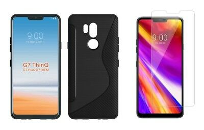 BLACK S-LINE TPU CASE+ CLEAR SCREEN PROTECTOR FOR LG G7 ThinQ