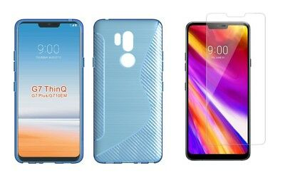 BLUE S-LINE TPU CASE+ TEMPERED GLASS SCREEN PROTECTOR FOR LG G7 ThinQ