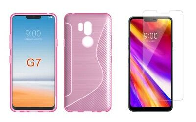 PINK S-LINE TPU CASE+ TEMPERED GLASS SCREEN PROTECTOR FOR LG G7 ThinQ