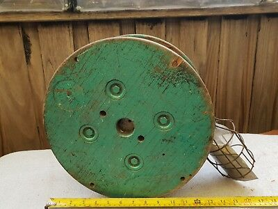 Vintage Wood Reel With Light man cave decor garage