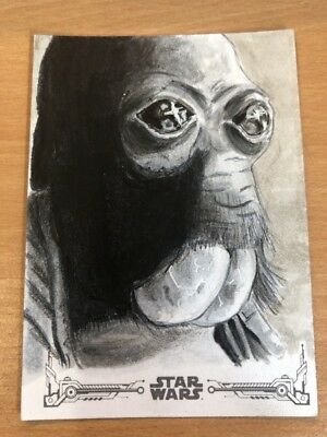 2018 Star Wars A New Hope Black & White Sketch Card By Carolyn Craggs