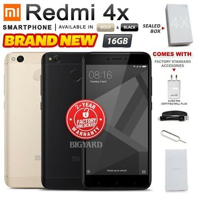 New & Sealed Factory Unlocked XIAOMI REDMI 4X Black Gold 16GB Android Smartphone