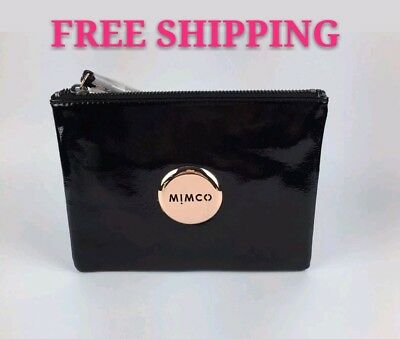 Free Post Mimco Black Rose Gold Medium Pouch Wallet Patent Leather Rrp99.95