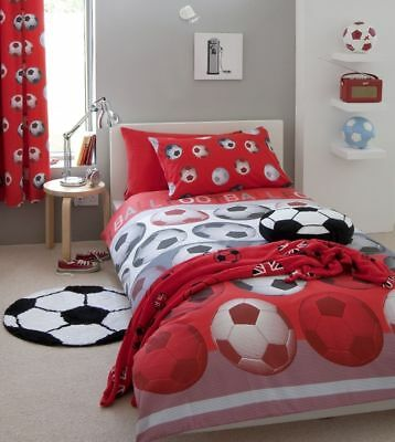 Catherine Lansfield Football Easy Care Double Duvet Set Red and Accessories