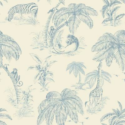 Blue Palma Sola Wallpaper Jungle Tropical Safari Trees Paste The Wall Holden