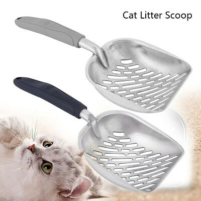 large Metal Cat Feces Shovel Cat Litter Scoop Pet Kitty Cleaning Gray Blue
