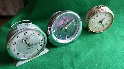 Vintage ' Wind Up' Alarm Clock 'job Lot' X 3 ( Spares Or Repairs Only )