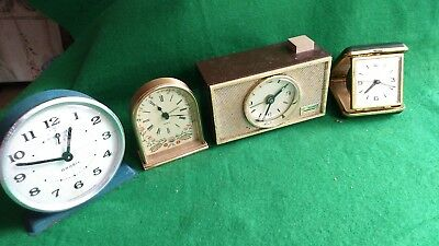 VINTAGE  ' WIND UP ' ALARM  CLOCK , BUNDLE 'JOB LOT '  x4 ,-( SPARES OR REPAIRS)