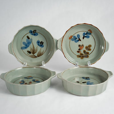 """Highland Stoneware Celadon Floral 4 Individual 6"""" Oven to Table Dishes c.1978-85"""