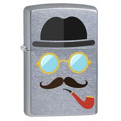 """Zippo Pipe Smoker with Mustache """"Pipe Lighter"""" in Street Chrome Finish."""