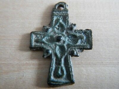 Ancient Byzantine Decorated Cross Pendant 12th - 13th Century Bronze VERY RARE