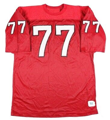 VTG 70S Champion Men's Blank Football Jersey Size 52 2XL #77 Red Black USA Made