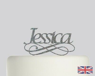 Your Name Birthday Personalised Cake topper Acrylic Glitter cake. 585