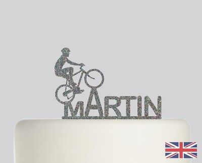 Cyclist Cycle Bike Birthday Personalised Cake topper Acrylic Glitter cake. 250