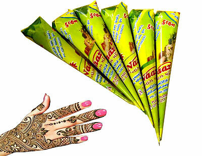 12 x Natural Colour Henna Cones Golecha Indian Mehndi Cone Halal No Chemical