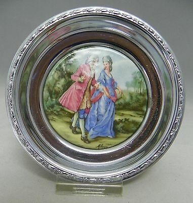 Vintage Porcelain & Chrome Coaster Dish  Colonial Courting Couple ~ 4 1/2 inch