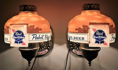 (2) 1960s PABST BEER Rotating Shade Wall Heat Lamps MOTION Signs (Nice+) WOW!!!!