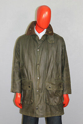 Mens Barbour Border Waxed Jacket Green Size C38/97 CM A330