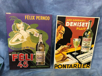 """16"""" Pair Antique Poster Style French Absinthe Tin Signs Felix Pernod Pontarlier"""