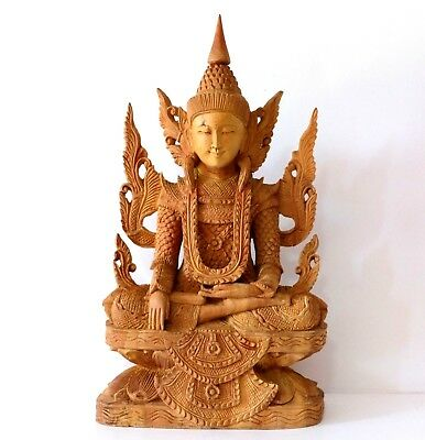 Worshiped Seated Buddha Image Made Of Scent Eagle Wood Carving Myanmar Style
