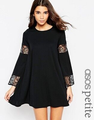 Asos Petite Black Boho Swing Dress With Long Fluted Sleeve Lace