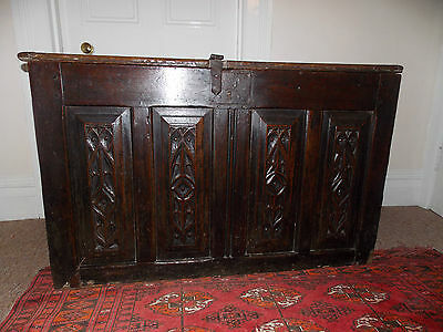 Rare Original Early 16th Century Carved Gothic Oak Coffer c1500