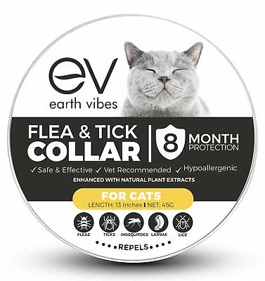 Flea & Tick Collar For Cats - Vet Recommended 8 Month Protection - Adjustable