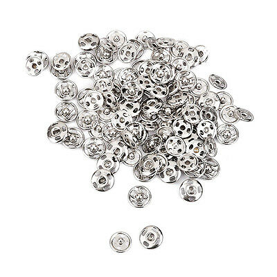 100Pcs/Set Metal Snap Fastener Press Stud Coat Sew On Buttons Silver 10mm Button