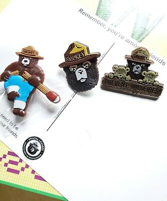 "3 pins. SMOKEY BEAR  . "" Lapel pin jewelry."" Broken match & Prevent Wildfires."