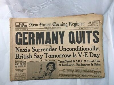 New Haven Evening Register Newspaper Connecticut May 7 1945 Germany Nazis WW2