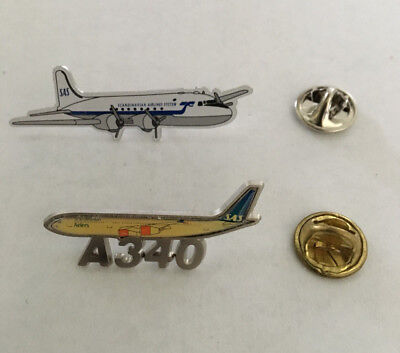 Vintage Scandinavian Airlines/SAS A340 and Historical Aircraft Pins - New