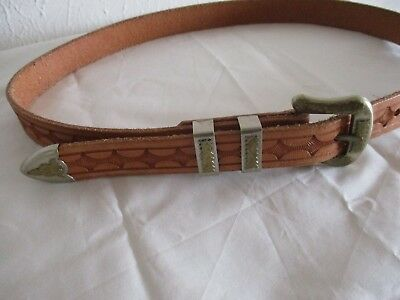 hand tooled leather belt with Mexican buckle & tip set